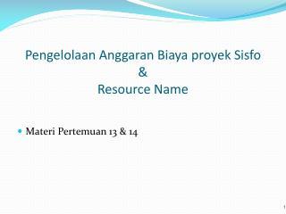 Pengelolaan Anggaran Biaya proyek Sisfo  &  Resource Name