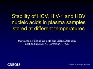 Stability of HCV, HIV-1 and HBV nucleic acids in plasma samples stored at different temperatures