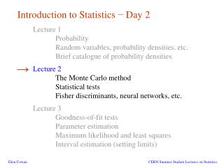 Introduction to Statistics  −  Day 2