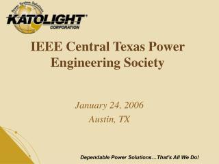 IEEE Central Texas Power Engineering Society