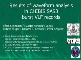 Results of waveform analysis in CHIBIS SAS3 burst VLF records