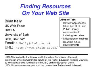Finding Resources  On Your Web Site