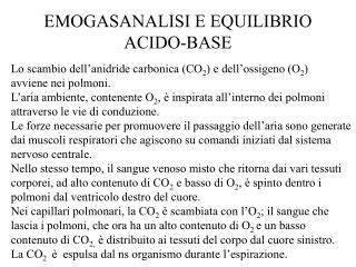 EMOGASANALISI E EQUILIBRIO ACIDO-BASE