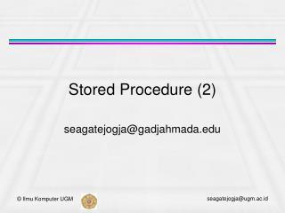 Stored Procedure (2)