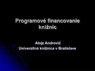 Programové financovanie knižníc