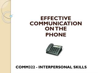 COMM322  - INTERPERSONAL SKILLS