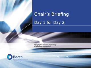 Chair's Briefing