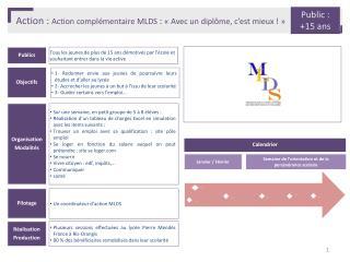Action :  Action complémentaire MLDS  :  «Avec un diplôme, c'est mieux !»