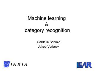 Machine learning  &  category recognition