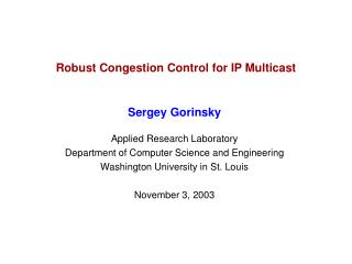 Robust Congestion Control for IP Multicast