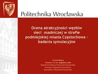 Urszula Napora Promotor: dr inż. Magdalena Mlek Wydział Architektury Politechniki Wrocławskiej