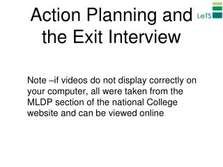 Action Planning and the Exit Interview