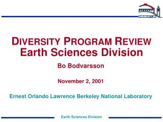 D IVERSITY  P ROGRAM  R EVIEW  Earth Sciences Division