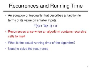 Recurrences and Running Time