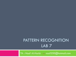 Pattern recognition  lab 7