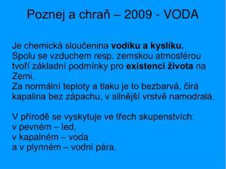 Poznej a chraň – 2009 - VODA
