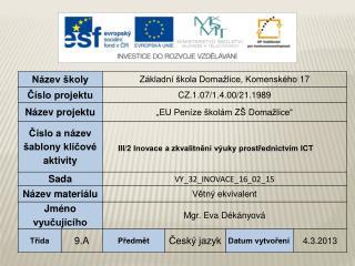 Vzdělávací oblast: Jazyk a jazyková komunikace Vzdělávací obor: Český jazyk a literatura