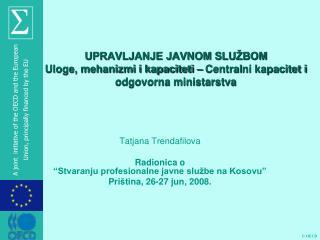 """Tatjana Trendafilova Radionica o  """" Stvaranju profesionalne javne službe na Kosovu """""""
