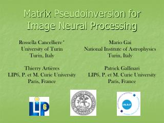 Matrix  Pseudoinversion  for Image Neural Processing