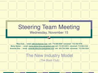 Steering Team Meeting Wednesday, November 15