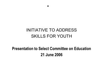 INITIATIVE TO ADDRESS  SKILLS FOR YOUTH Presentation to Select Committee on Education