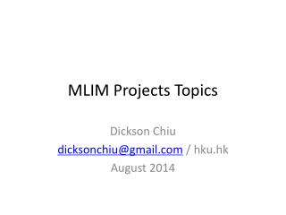 MLIM Projects Topics