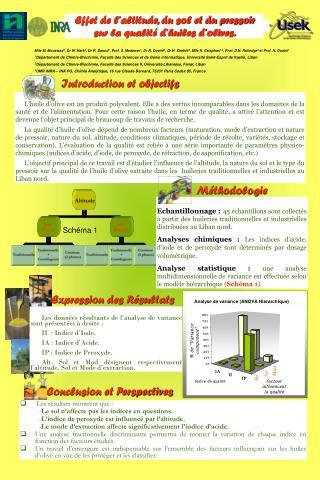Effet de l'altitude, du sol et du pressoir  sur la qualité d'huiles d'olives.