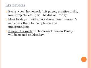 Les devoirs