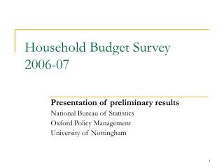 Household Budget Survey 2006-07