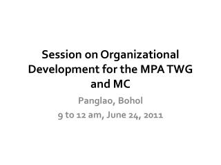 Session on Organizational Development for the MPA TWG and MC