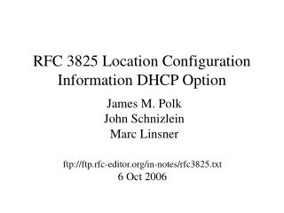 RFC 3825 Location Configuration Information DHCP Option