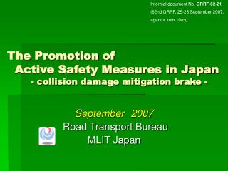 September 2007 Road Transport Bureau MLIT Japan