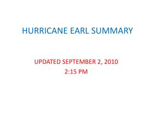 HURRICANE EARL SUMMARY
