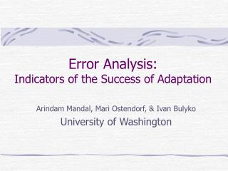 Error Analysis: Indicators of the Success of Adaptation
