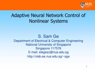 Adaptive Neural Network Control of Nonlinear Systems