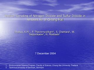 Passive Sampling of Nitrogen Dioxide and Sulfur Dioxide in Ambient Air of Chiang Mai