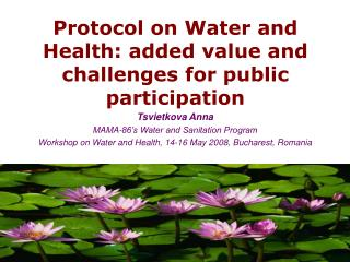 Protocol on Water and Health: added value and challenges for public participation