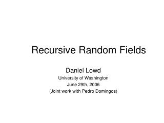 Recursive Random Fields
