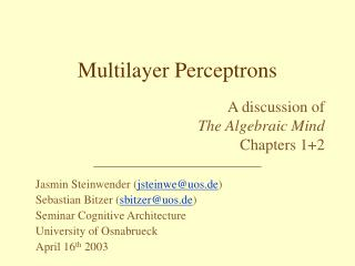 Multilayer Perceptrons