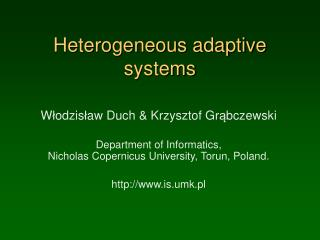 Heterogeneous adaptive systems