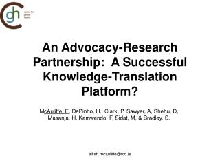 An Advocacy-Research Partnership:  A Successful Knowledge-Translation Platform?
