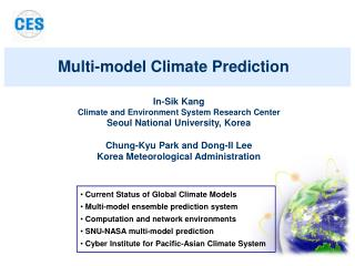 In-Sik Kang Climate and Environment System Research Center Seoul National University, Korea