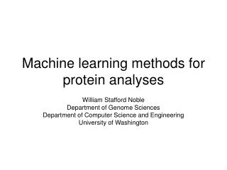 Machine learning methods for protein analyses