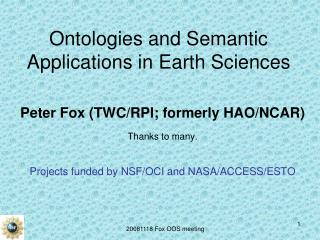 Ontologies and Semantic Applications in Earth Sciences
