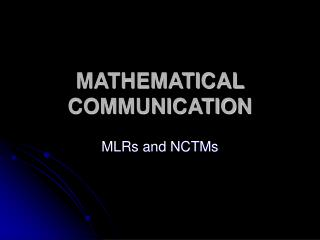 MATHEMATICAL COMMUNICATION