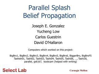 Parallel Splash  Belief Propagation