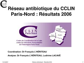 Réseau antibiotique du CCLIN Paris-Nord: Résultats 2006