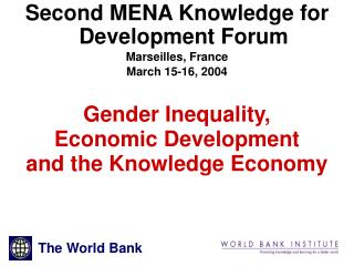 Gender Inequality,  Economic Development and the Knowledge Economy