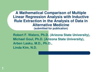 Robert F. Waters, Ph.D. (Arizona State University),
