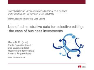 UNITED NATIONS - ECONOMIC COMMISSION FOR EUROPE CONFERENCE OF EUROPEAN STATISTICIANS